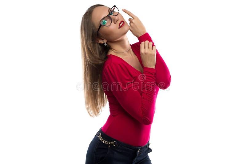 妇女照片红色的与长的头发 免版税库存图片