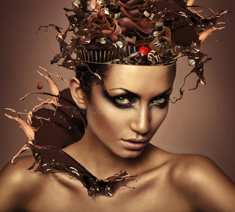 妇女用在头的巧克力 库存图片