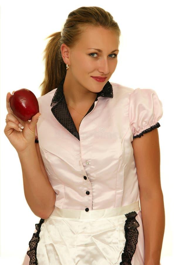 妇女用苹果 库存图片