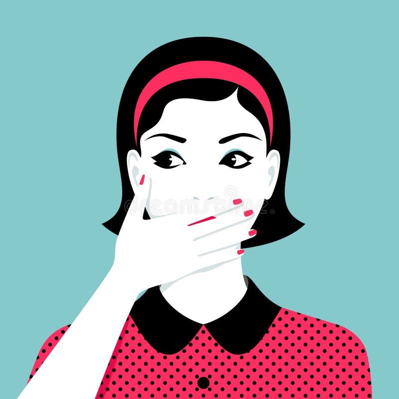 妇女由她的手盖她的嘴 库存例证