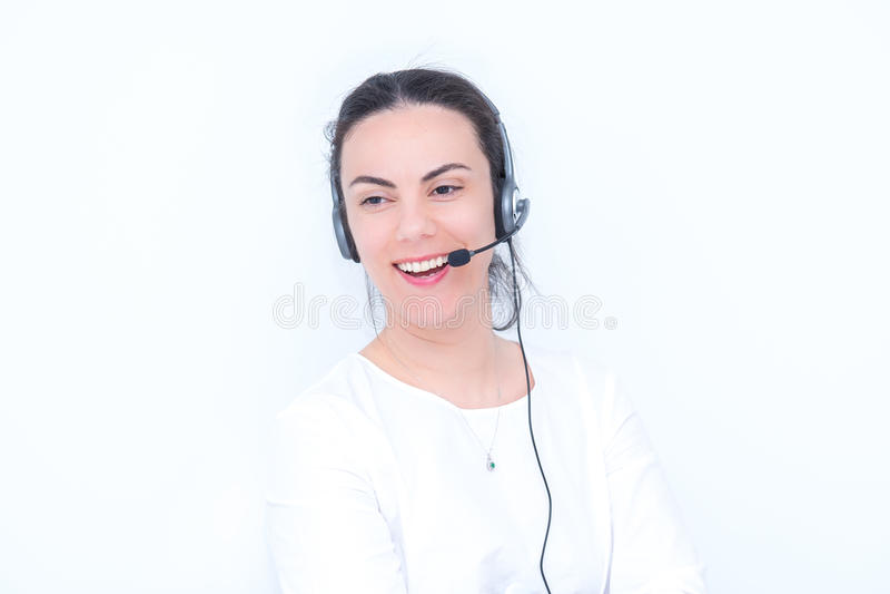 妇女电话中心 免版税库存图片