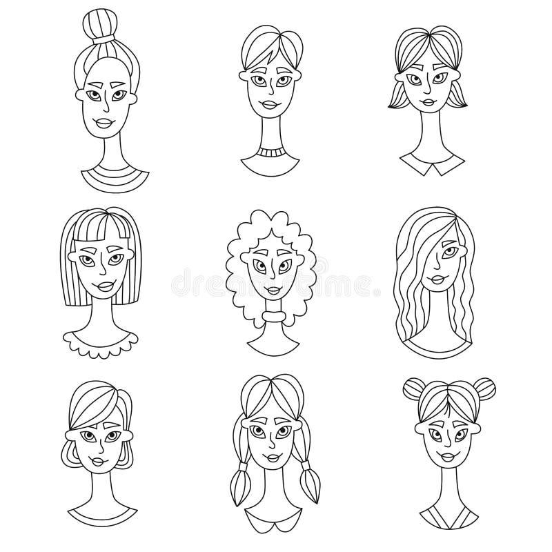 妇女画象乱画传染媒介集合 皇族释放例证