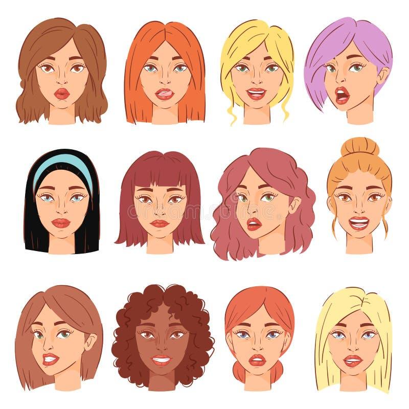 妇女画象传染媒介女孩的女性角色面孔有发型和动画片人例证套的美丽 向量例证