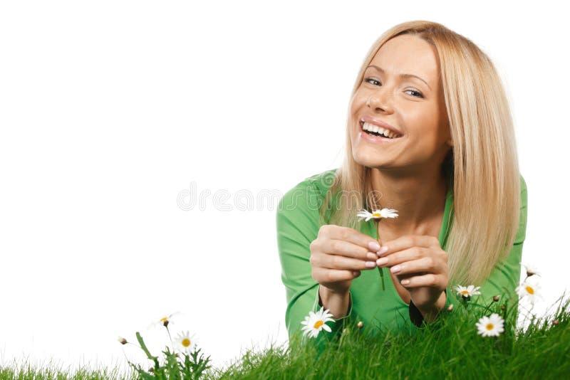 妇女画象有雏菊的 免版税库存图片