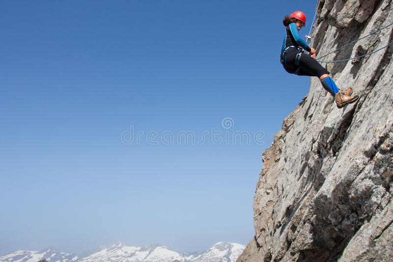 妇女登山人 库存图片