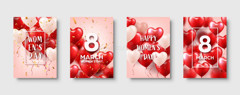 妇女的与红色气球的天背景,心形 五彩纸屑和丝带 背景爱红色玫瑰色符号白色 3月8 我爱你 向量 库存例证