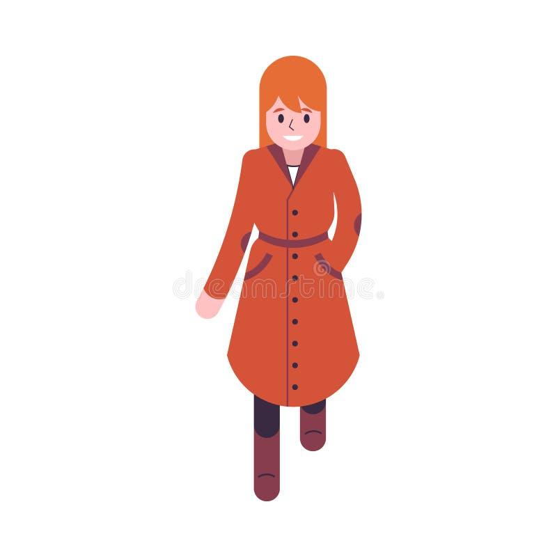 妇女的传染媒介例证橙色和棕色秋天衣裳的 库存例证