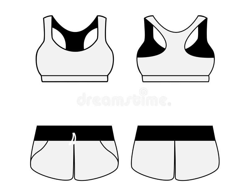 妇女的体育内衣 胸罩和短裤 向量例证
