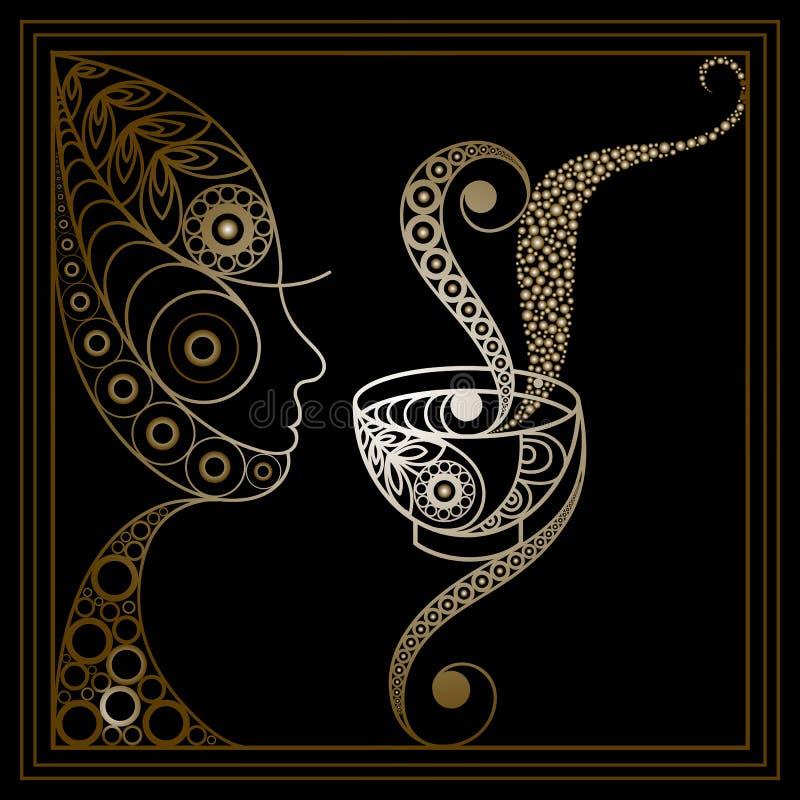 妇女的图表例证有一杯茶的4 库存例证