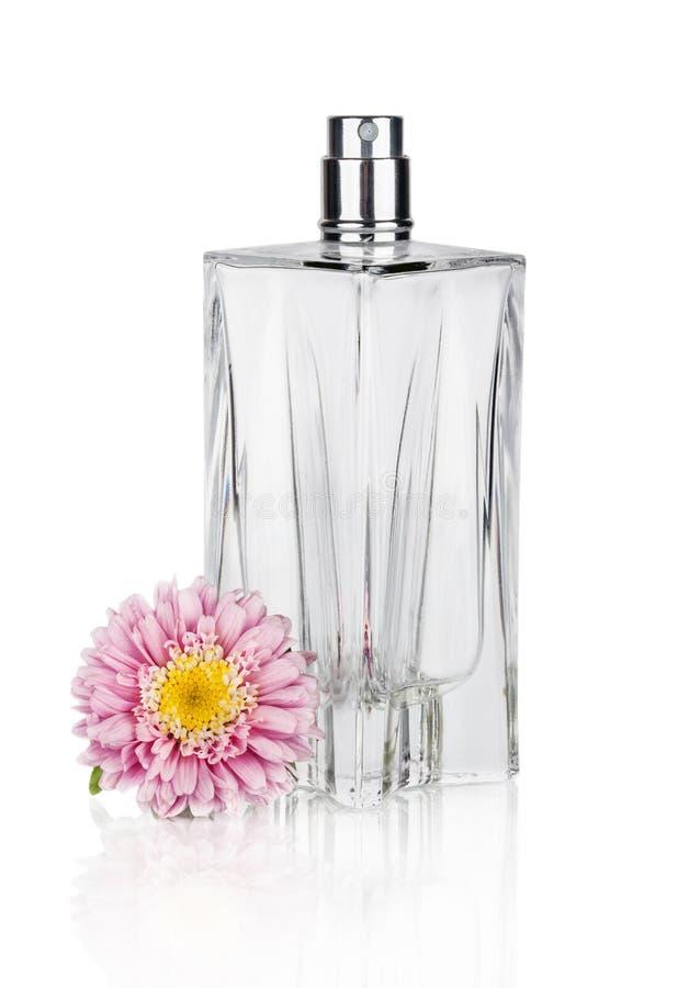 妇女的在白色隔绝的美丽的瓶的花香水 免版税库存照片