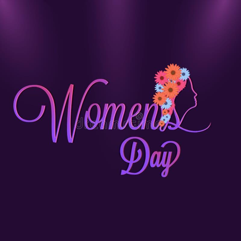 妇女的天光滑的字法在紫色背景的 向量例证
