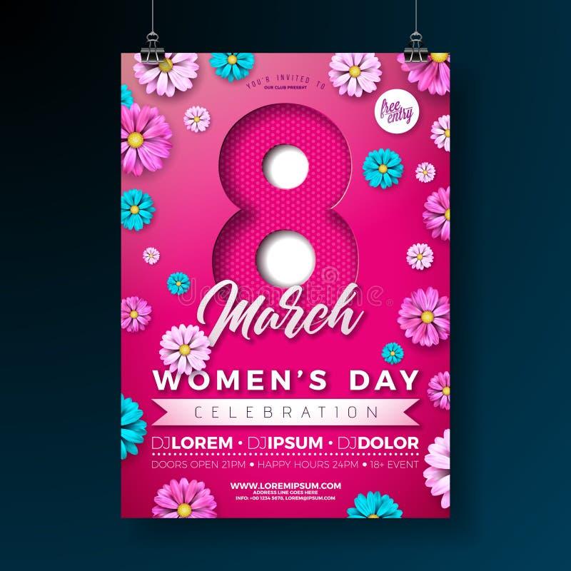 妇女的天党与花的飞行物例证在桃红色背景 3月8日庆祝的女性假日设计 库存例证