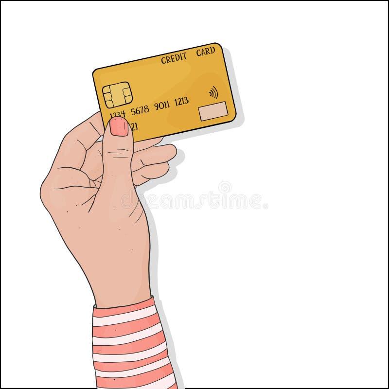 妇女的手以在网上支付的信用卡购买 库存例证