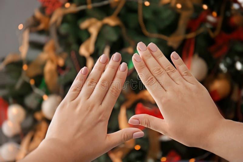 妇女的手有专业修指甲的反对被弄脏的圣诞树 库存照片