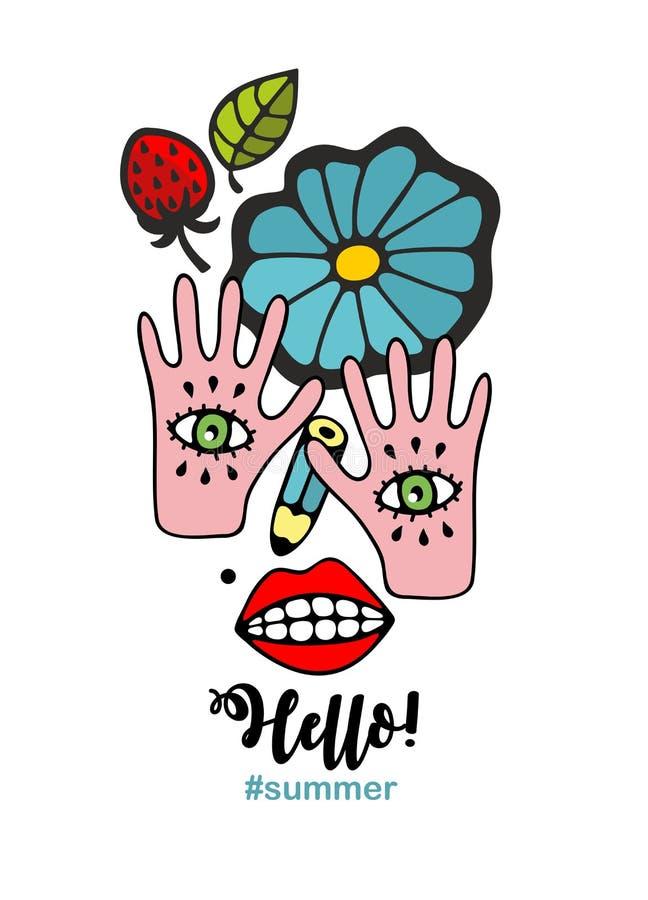 妇女的抽象画象由手、眼睛和花制成 库存例证