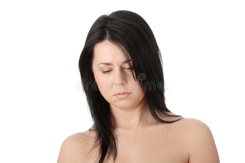 妇女的接近的肥头大耳的纵向 免版税图库摄影