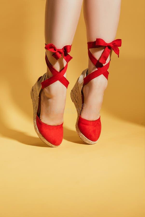 妇女的播种的图象站立在脚趾的时髦的平台凉鞋的 免版税库存图片