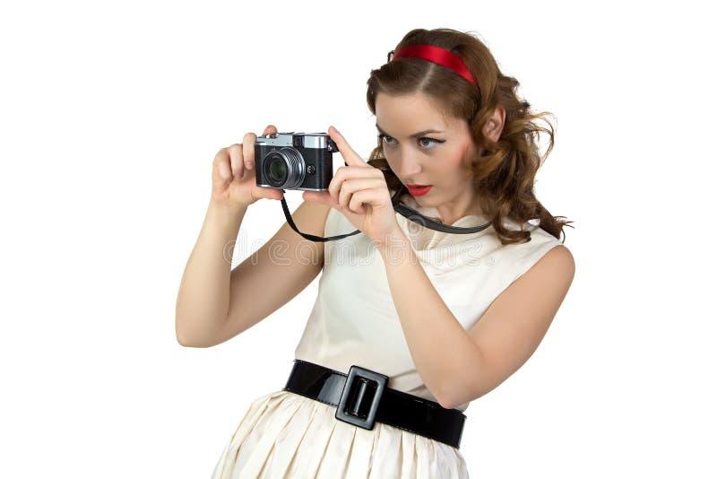 妇女的照片有照相机的 免版税库存照片