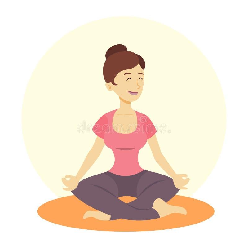 妇女的瑜伽 向量例证