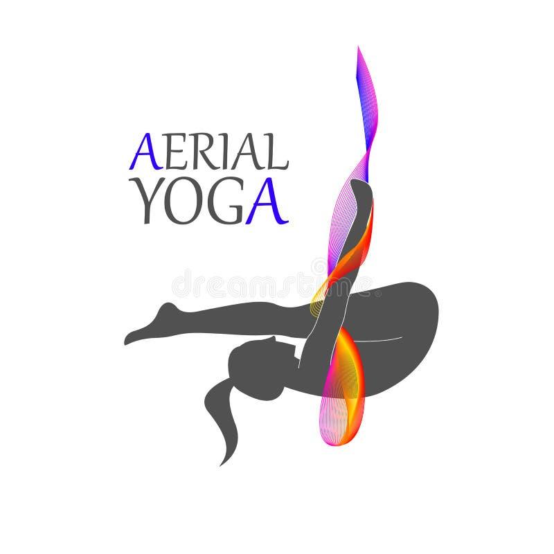 妇女的空中瑜伽 库存例证