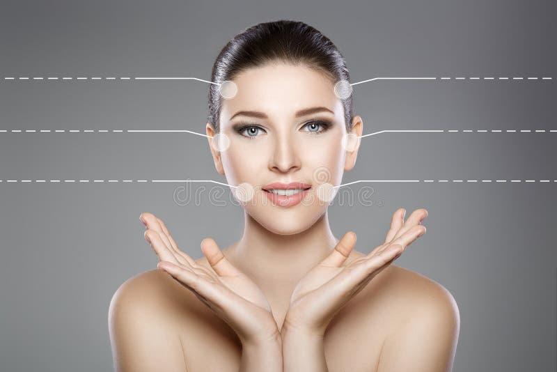 妇女的美丽的面孔有蓝眼睛的和清洗新鲜的皮肤 温泉画象 免版税库存图片