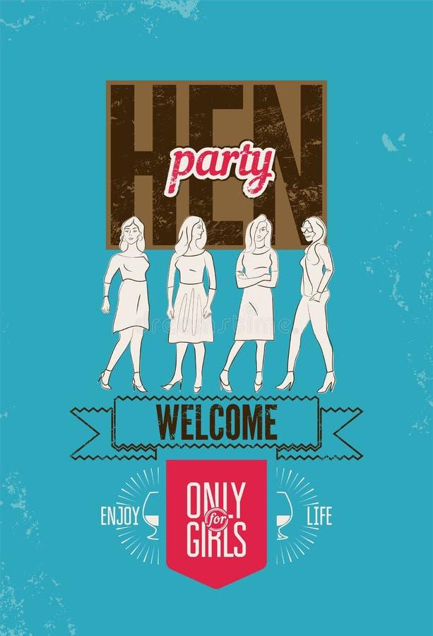 妇女的聚会的印刷海报与俏丽的女孩 也corel凹道例证向量 向量例证