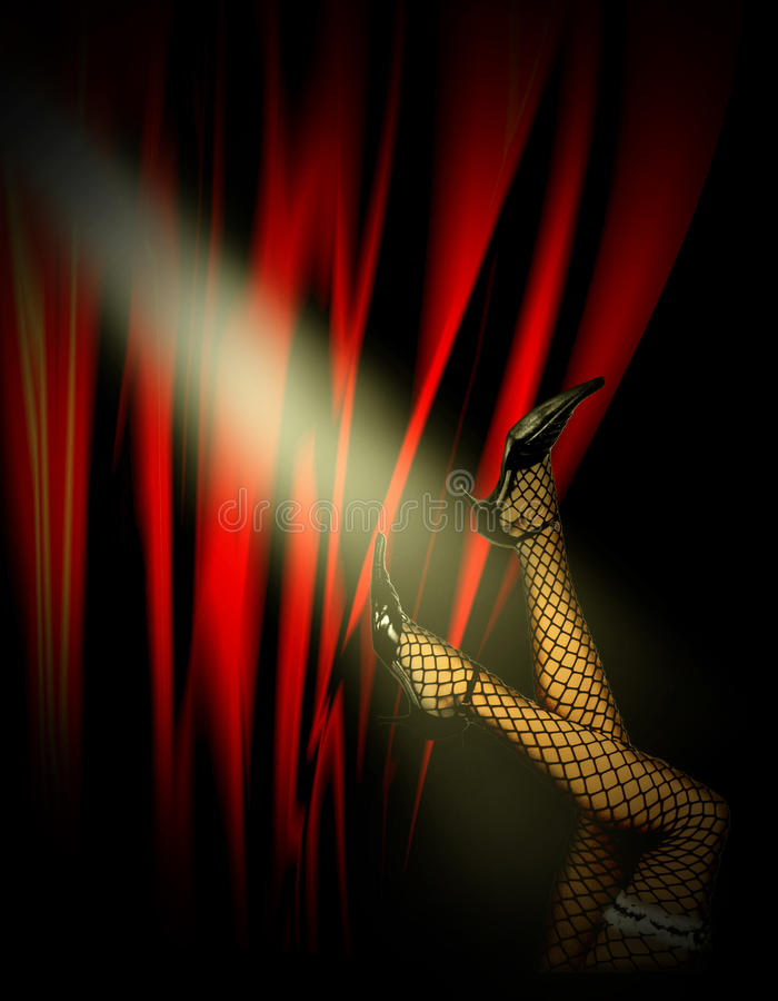 妇女的腿在余兴节目 向量例证