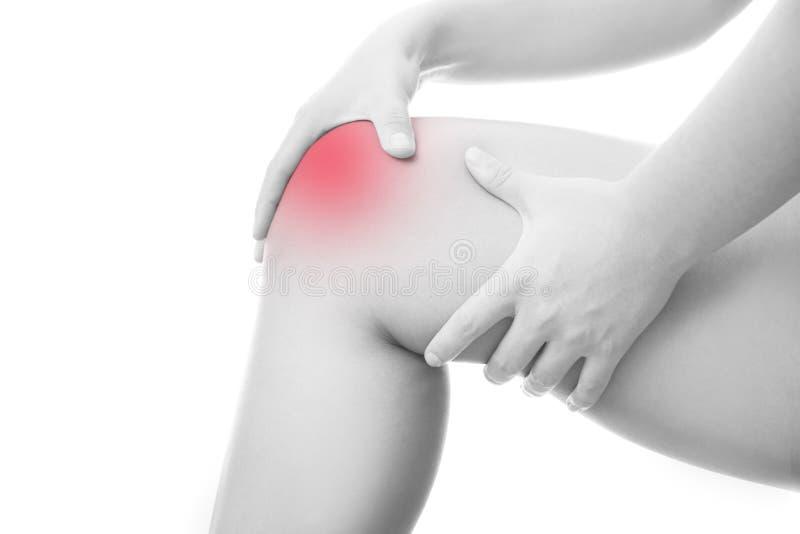 妇女的膝盖痛苦 库存照片