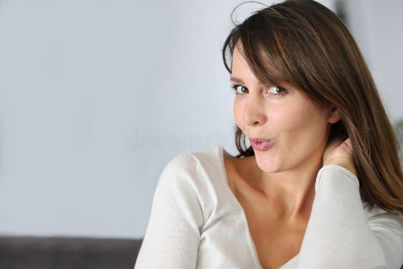 妇女的表达式 免版税图库摄影