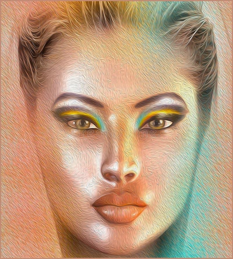 妇女的面孔和化妆用品在我们的现代数字式艺术样式关闭  免版税库存照片