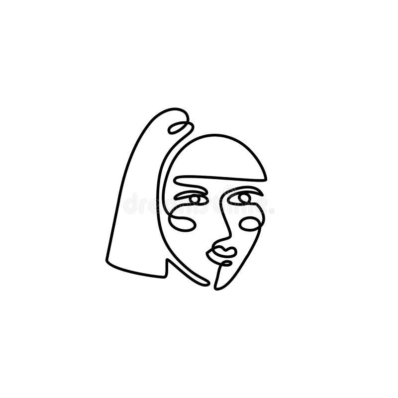 妇女的面孔最小的线型 连续的一线描女性的摘要传染媒介画象 库存例证