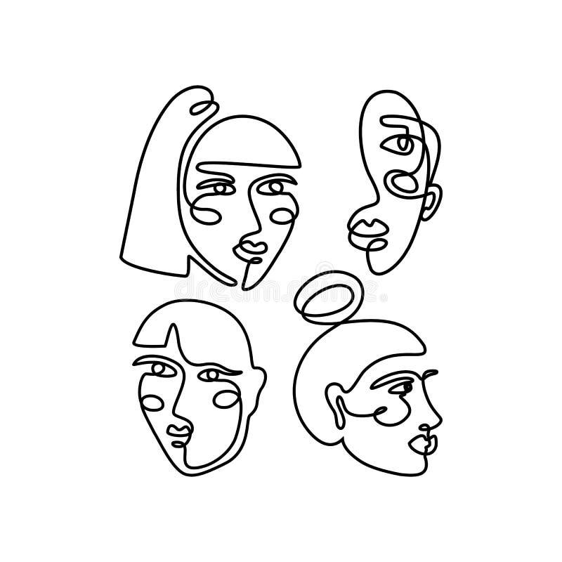 妇女的面孔最小的线型 连续的一线描女性的摘要传染媒介画象 皇族释放例证