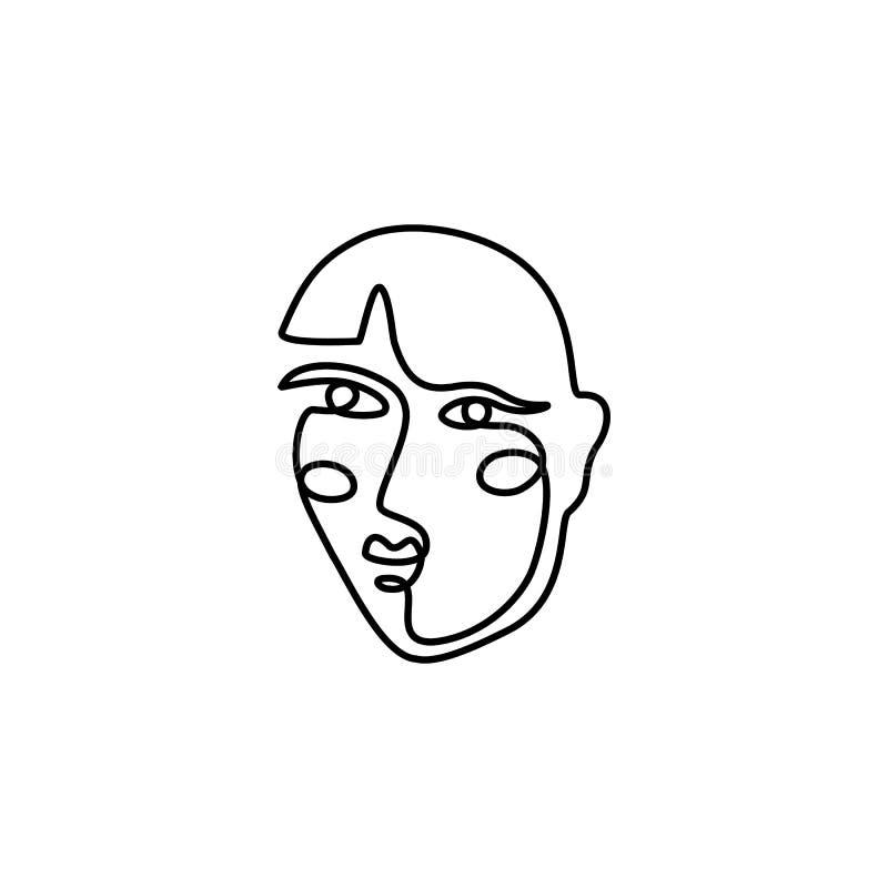 妇女的面孔最小的线型 连续的一线描女性的摘要传染媒介画象 向量例证