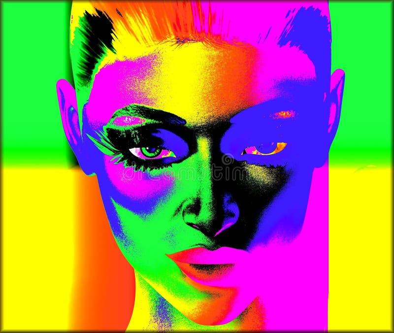 妇女的面孔的沃霍尔样式数字式流行艺术图象 皇族释放例证