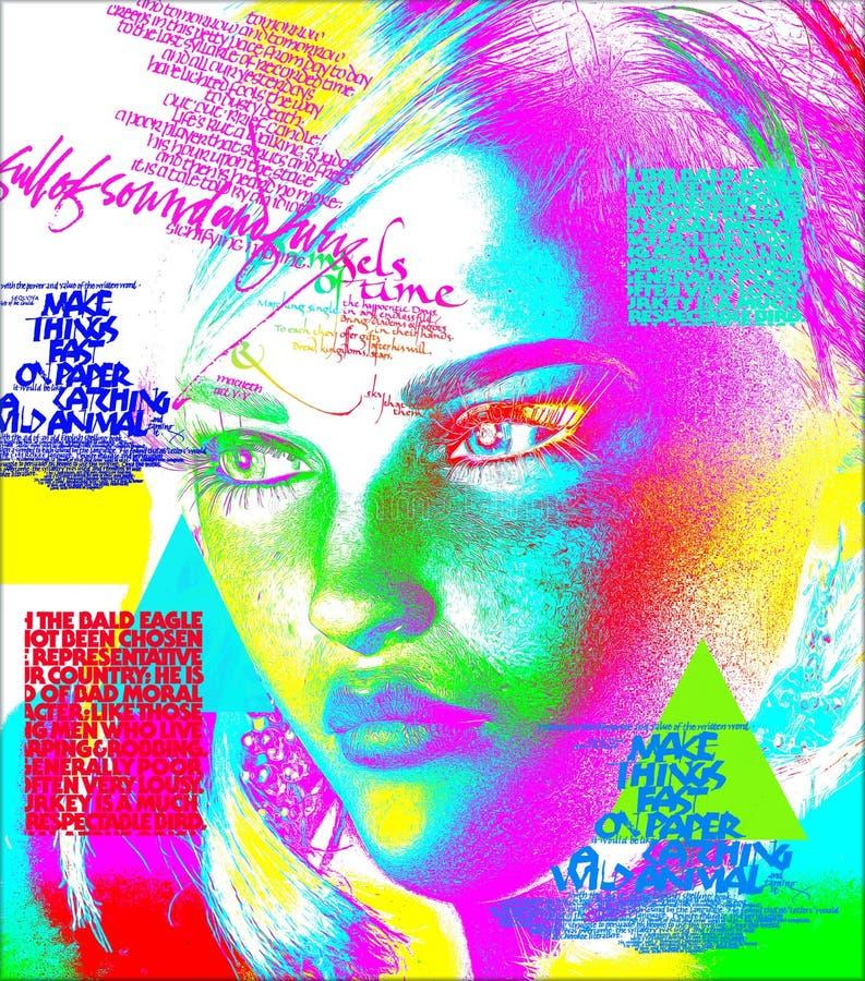 妇女的面孔的现代数字式艺术图象,关闭有五颜六色的抽象背景 库存例证