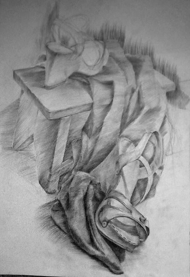 妇女的鞋子、长凳和布铅笔图在白皮书 皇族释放例证