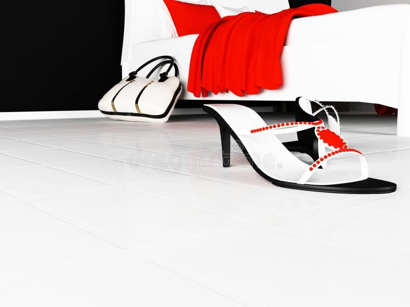 妇女的鞋子在地板和袋子上驱散了 向量例证