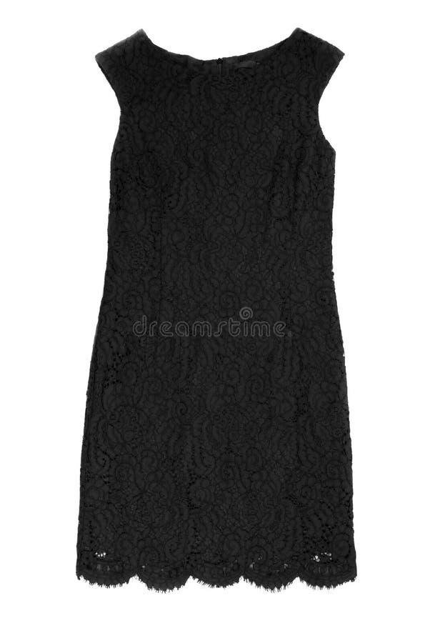妇女的黑鞋带礼服 在白色的孤立 库存照片