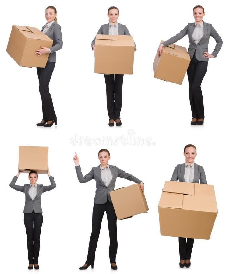 Download 妇女的综合图象有箱子的在白色 库存图片. 图片 包括有 女实业家, 滑稽, 脆弱, 装箱, 纸盒, 综合 - 72365171