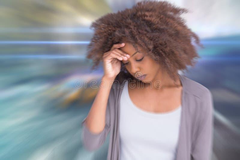 妇女的综合图象有头疼的 免版税库存照片