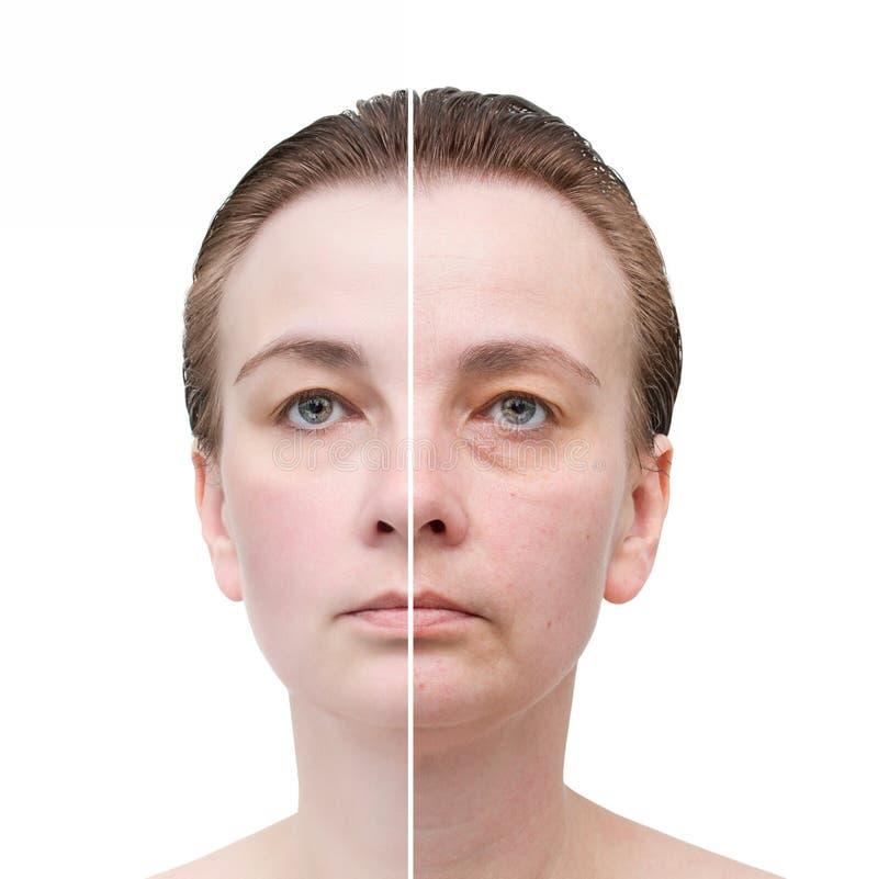 妇女的画象。护肤。 免版税库存图片