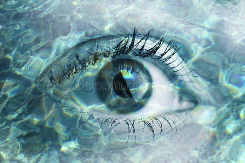 妇女眼睛两次曝光 图库摄影
