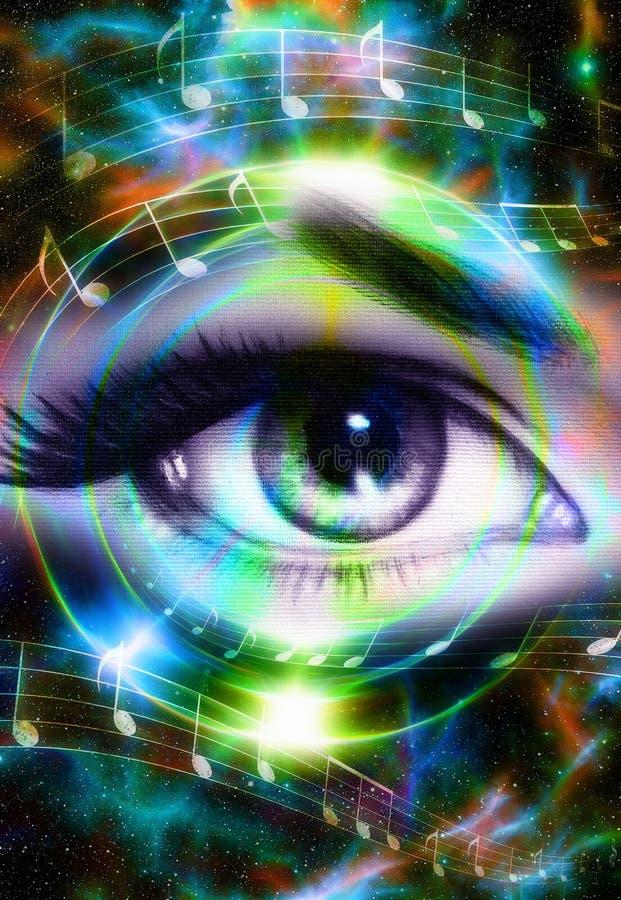 妇女眼睛和音乐笔记和宇宙空间与星 音频音乐报告人剪影 抽象颜色背景,眼睛 库存例证