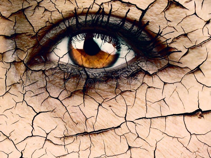 妇女眼睛特写镜头剧烈的失水或老化概念 免版税库存照片