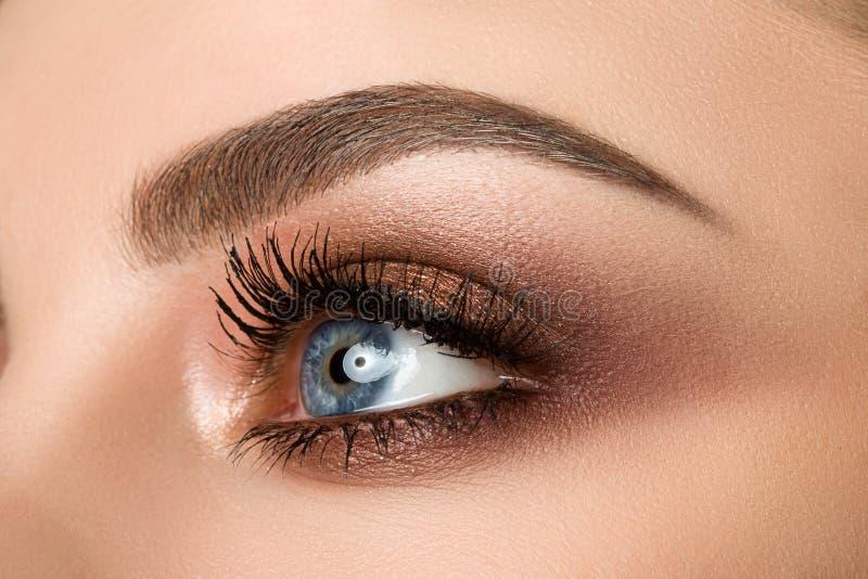 妇女眼睛特写镜头与美丽的棕色smokey的注视构成 免版税库存照片