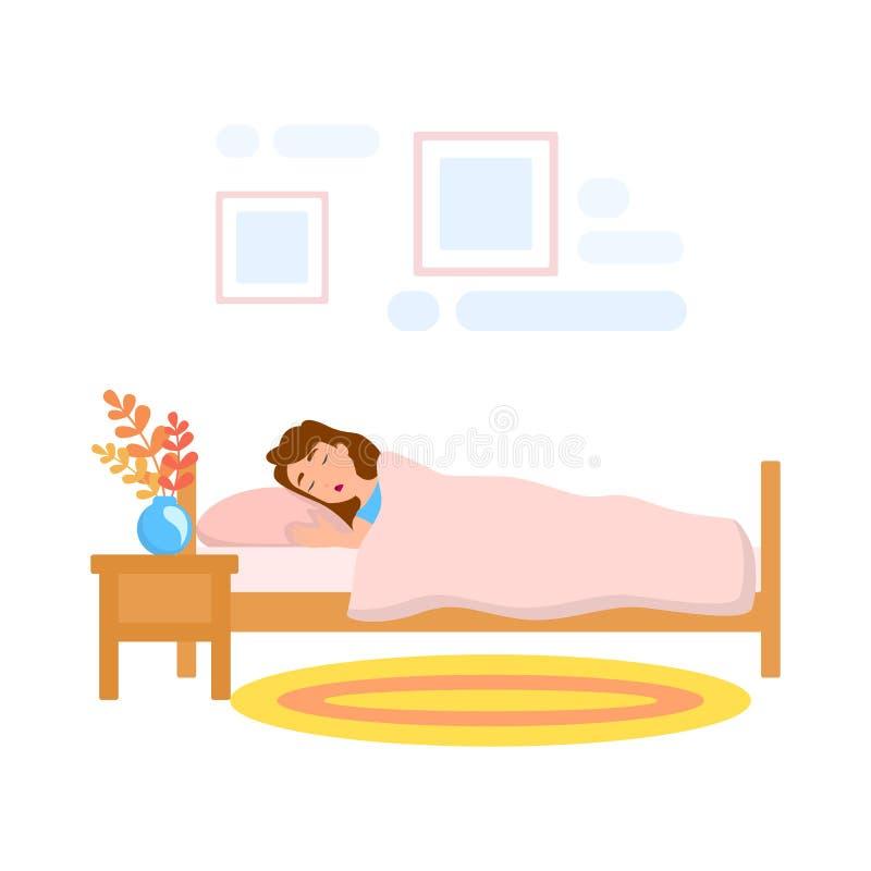 妇女睡眠在床上在晚上 人睡着 皇族释放例证