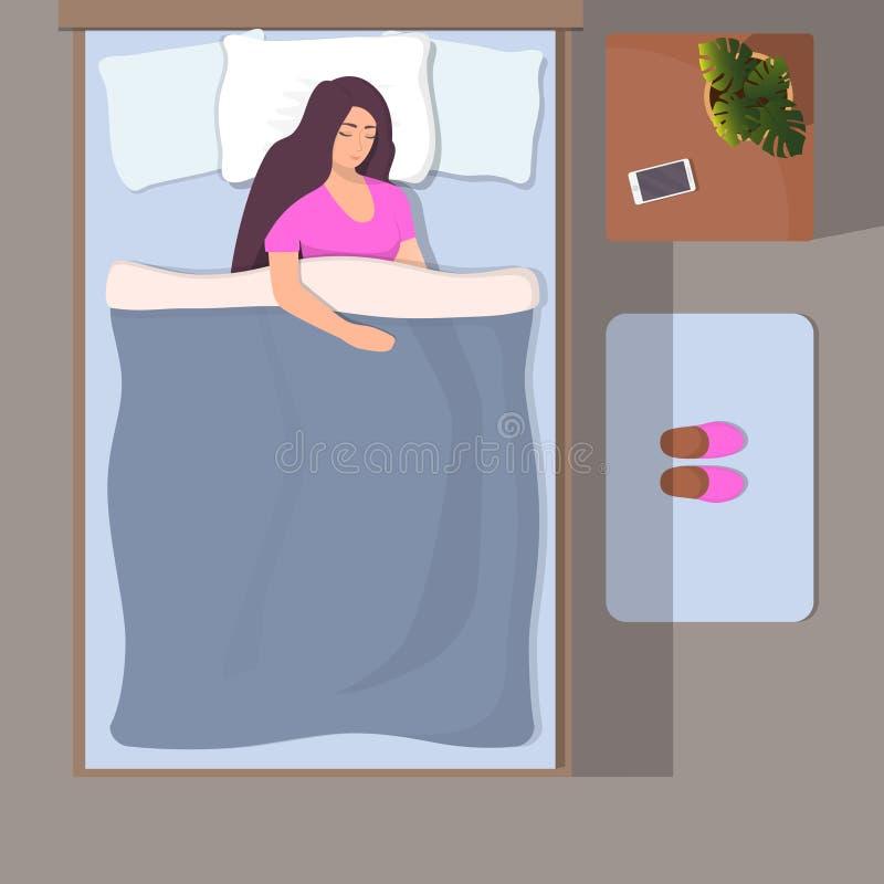 妇女睡觉在她的床上的,顶视图 女孩与智能手机平安地睡觉在她的头附近 在席子的拖鞋在床附近 库存例证