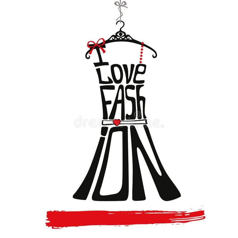 妇女礼服剪影 我爱faschion 黑色,红色 库存例证