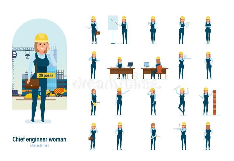 妇女礼服的建筑师工作者 不同的姿势,情感,姿态 库存例证