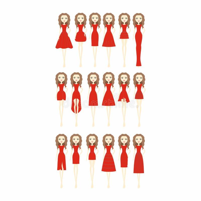 妇女礼服 套十相当不同设计典雅和 库存图片